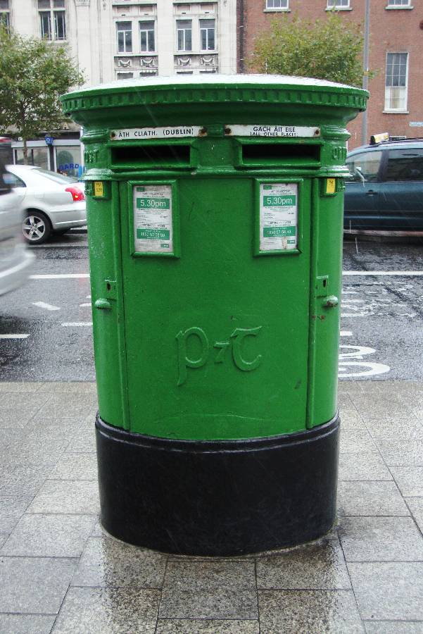 Double Aperture P & T Pillarbox  located on O'Connell Street at the junction of Cathal Brugha Street Dublin.